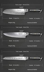 Image 5 - SUNNECKO cuchillo de Juego de cuchillos de cocina de acero japonés Damasco VG10, herramienta de cocina, 5 uds.