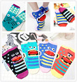 2 pairs new brand women cartoon funny Striped Cotton sock  spell color small monster length sock Casual sock for Lady  girl