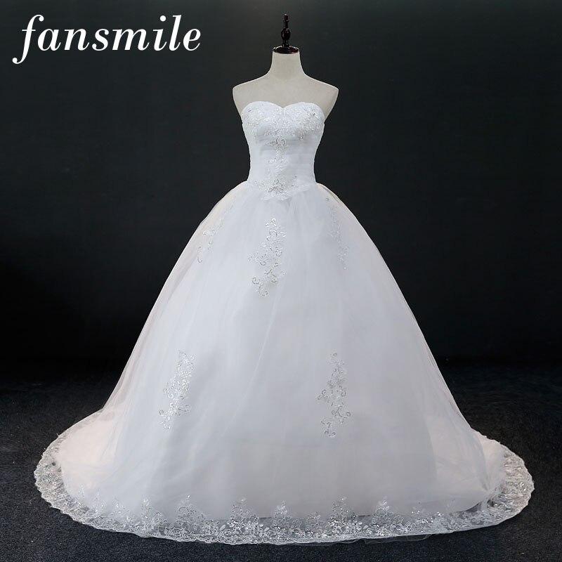 Fansmile Real Photo Cheap Ball Lace Long Train Wedding Dresses 2018 Plus Size Vintage Vestido de Noiva Free Shipping FSM-093T