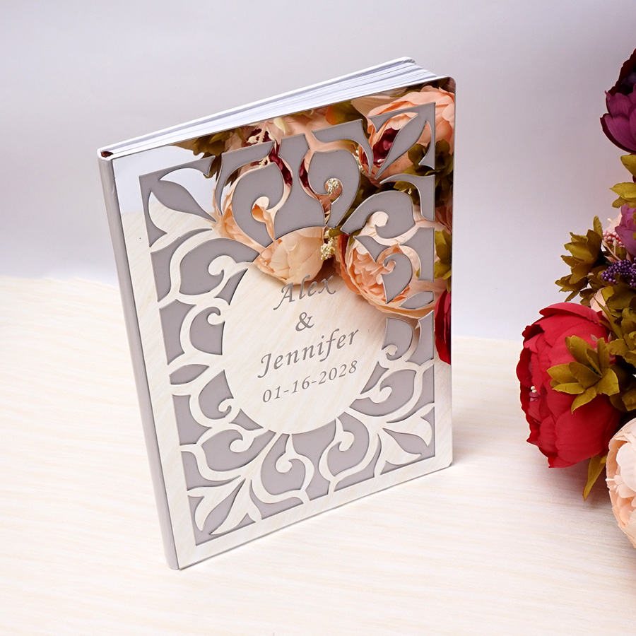 Party Gifts Oval Guest Favor Blank Inner Mirror Books Page Book Custom Wedding Personalized Guest Signature White Decor 19cm 26x
