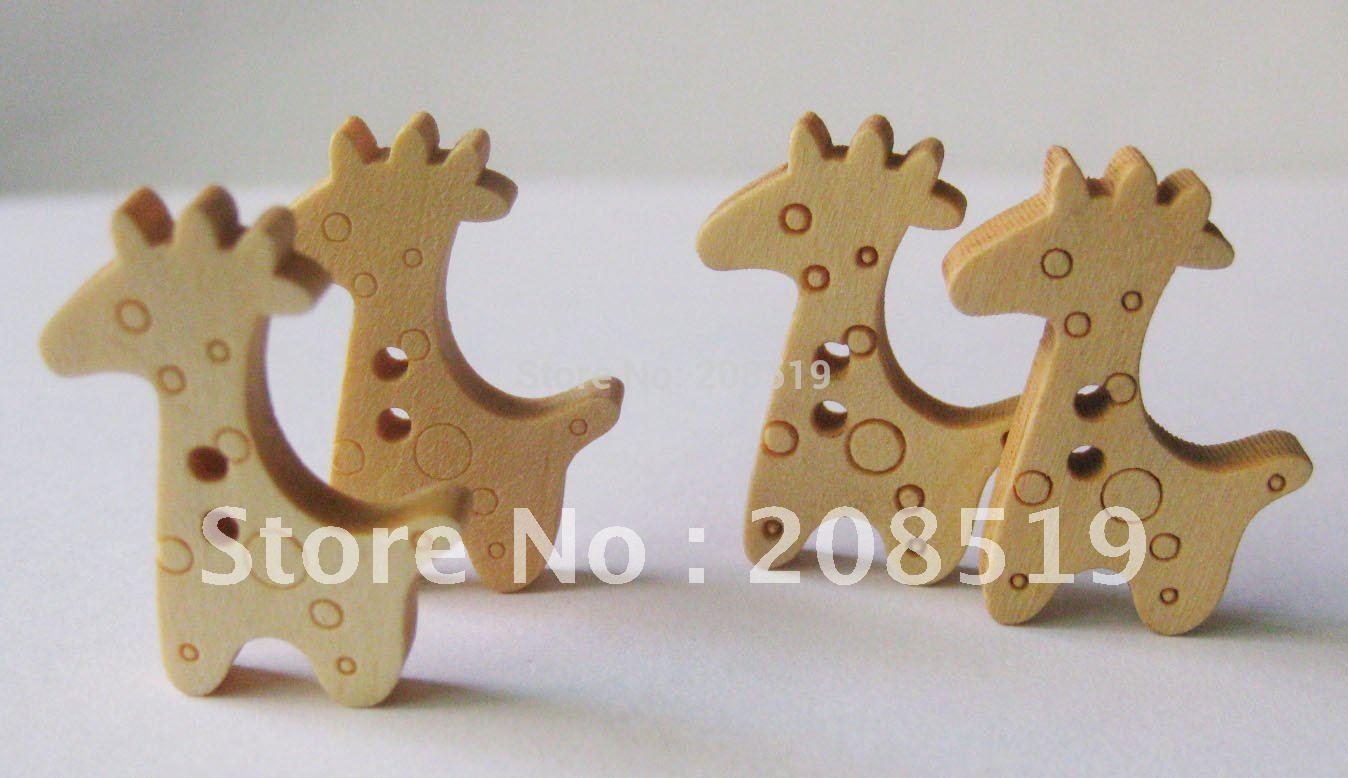 10 Mezclados Color Botones Madera en forma de una jirafa