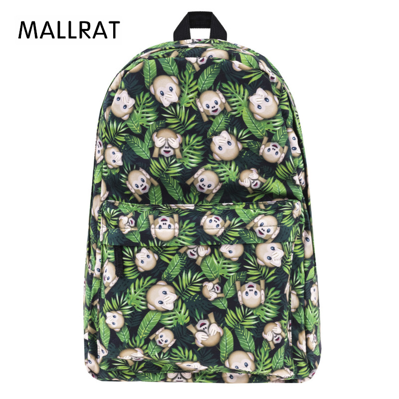 MALLRAT School Bags for Teenage Girls Backpack Women Funny Monkeys Weed Print New Mochila Bookbag Sac
