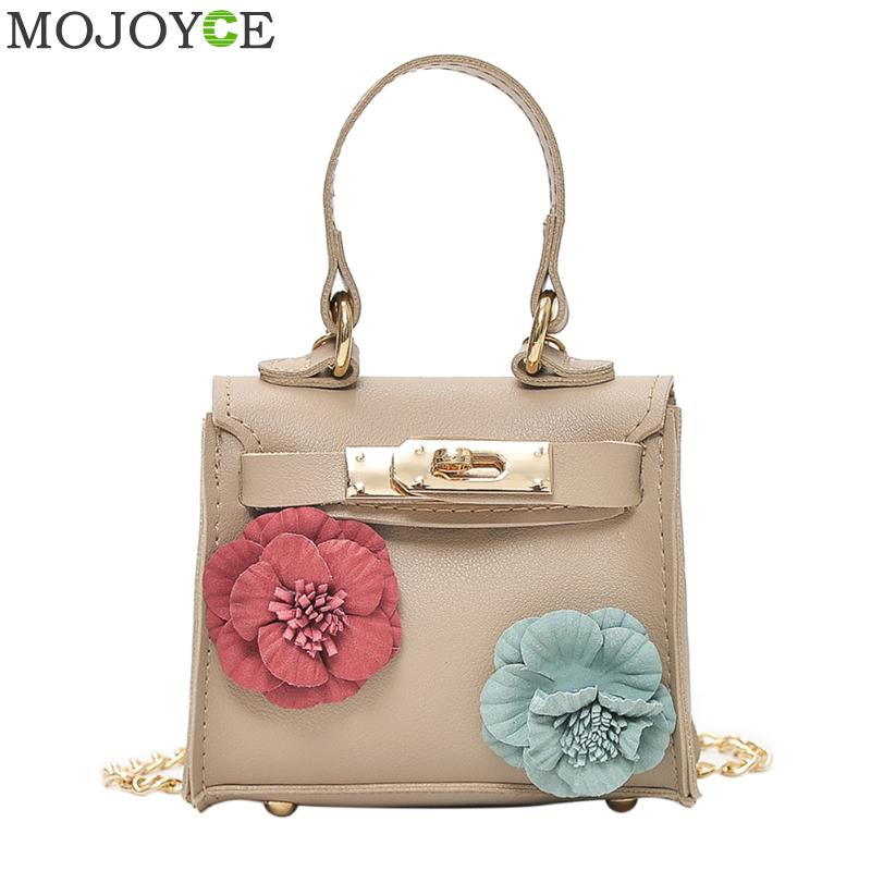 Women Mini Flower Handbag Fashion PU Leather Long Chain Crossbody Bags for Women Top Handle Handbag Teenager Girls Shoulder Bags 2017 120cm diy metal purse chain strap handle bag accessories shoulder crossbody bag handbag replacement fashion long chains new