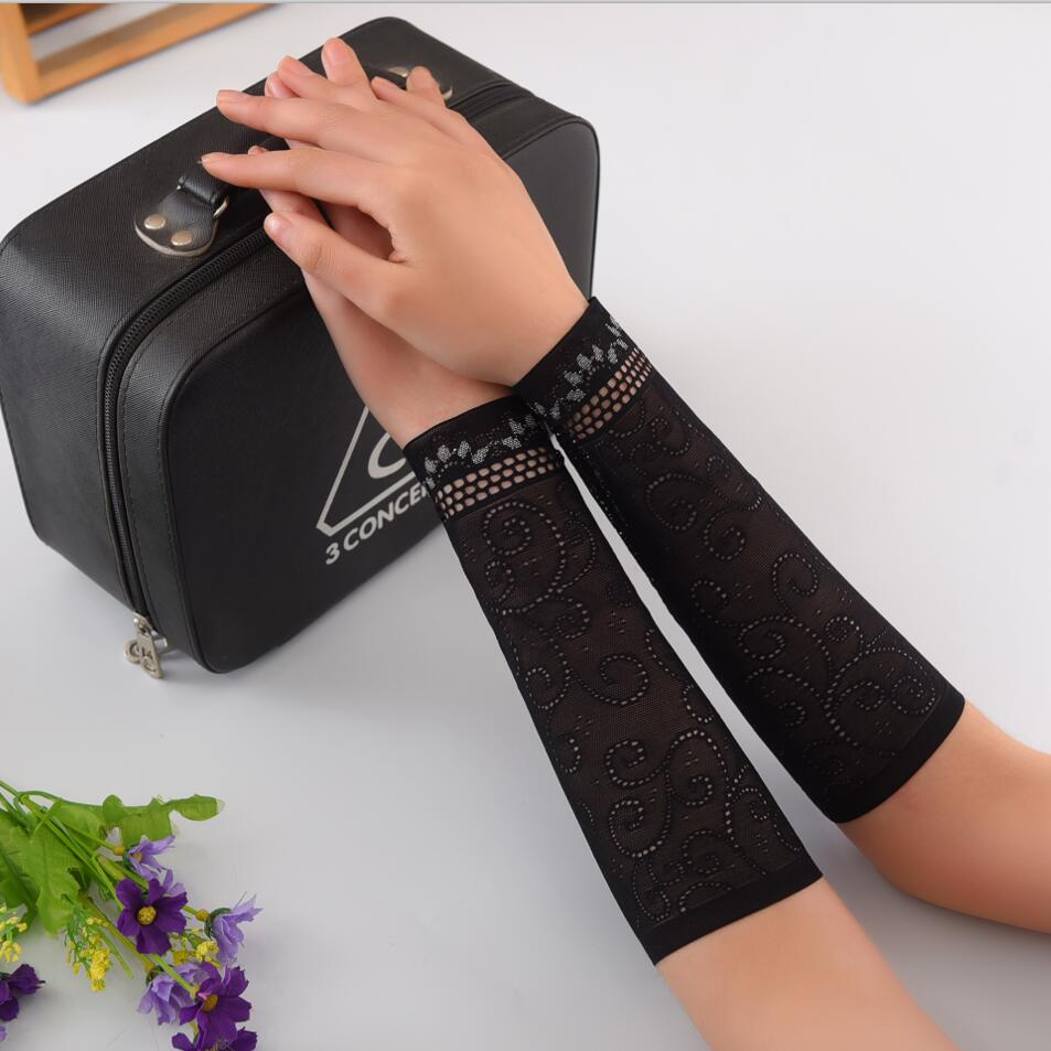 Women Summer Lace Arm Cover Black Arm Sleeves Woman Arm Cuff Floral Ladies UV Sun Sleeves Scar Cover Tattoo Sleeves