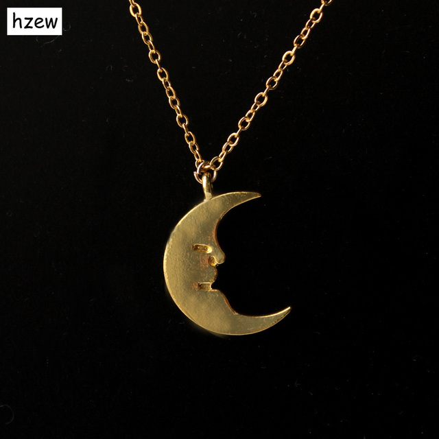 Hzew min 1pc gold and silver half moon pendant necklace for women hzew min 1pc gold and silver half moon pendant necklace for women long chain necklaces couple aloadofball Images