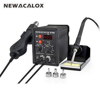 NEWACALOX EU Plug 220V 700W  Rework Soldering Station Thermoregulator  Soldering Iron Hot Air Desoldering Gun Welding Tool Kit