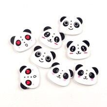 50 шт Смешанные 22x18 мм деревянные кнопки в виде головы панды для рукоделия одежды Скрапбукинг деревянные декоративные поделки Diy аксессуары