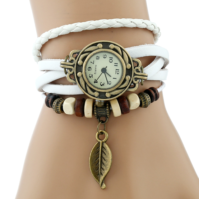 Gnova Platinum TOP Genuine Leather Bracelet Watch Women LEAF Vintage wristwatch