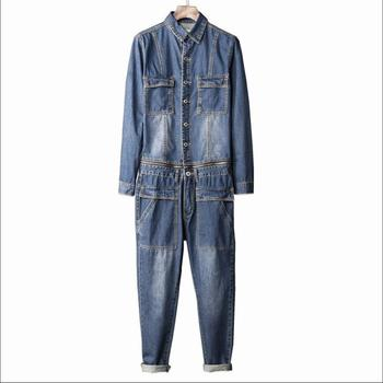 M-xxl Autumn Tide Jeans Men's Denim Siamese Trousers Slim Korean Youth Feet Jeans Tooling Jumpsuit Personality Overalls