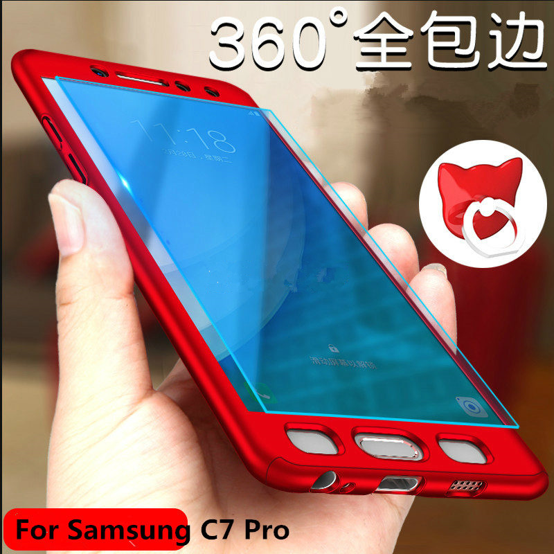 For Samsung Galaxy C7 Pro Case 5.7 360 Degree Full Cover Luxury PC Protective Phone Back Case For Samsung C7Pro +Tempered Glass