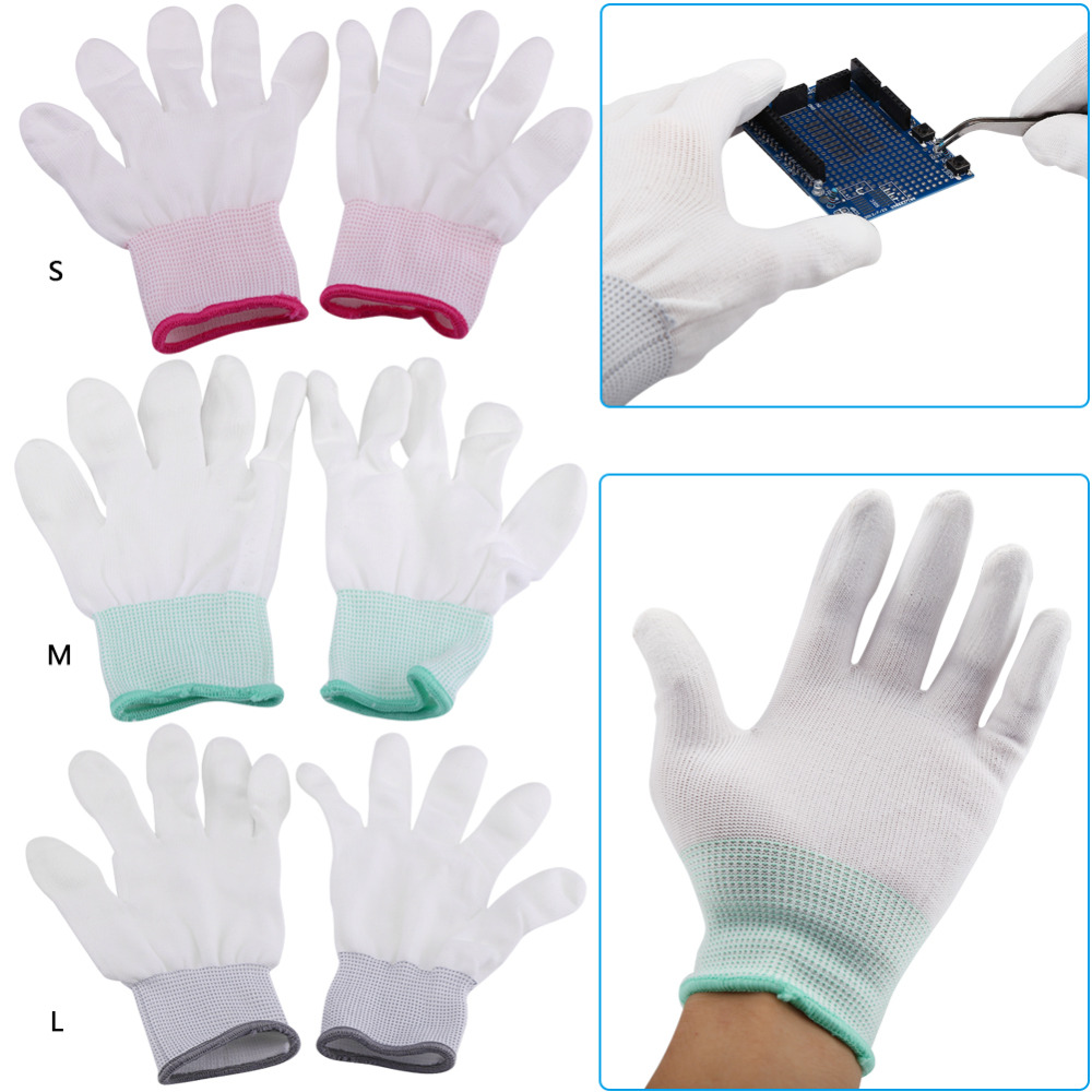 1 Pair Anti Static Antiskid Gloves PU Coated Finger Part for Electronic Labor Worker Mitten