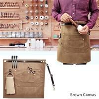 Canvas Denim Waist Apron Leather Strap Barista Bartender Bakery BBQ Chef Catering Uniform Florist Painter Gardener Work wear D23
