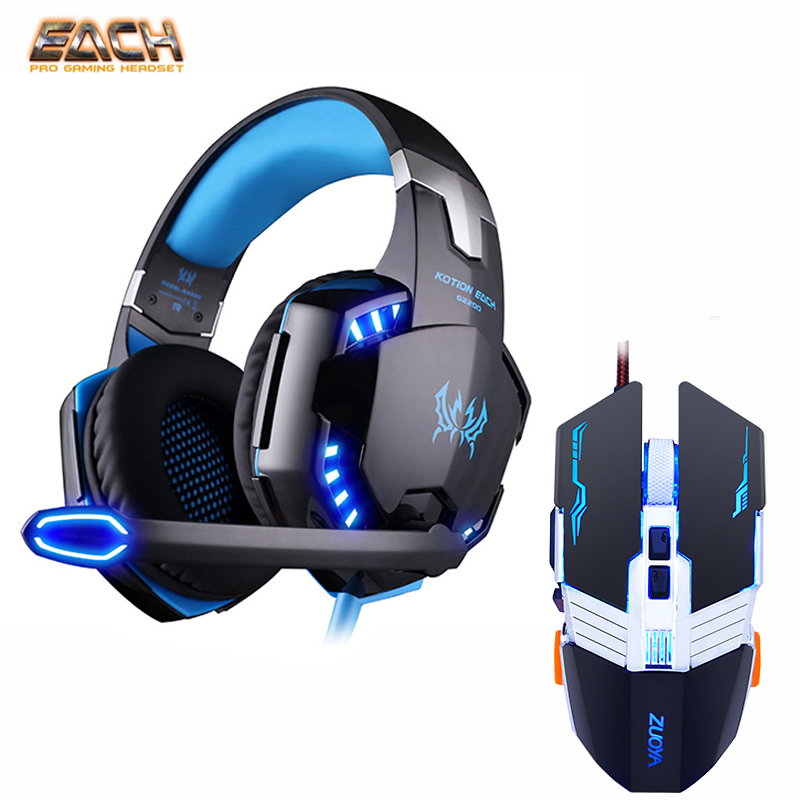 KOTION EACH G2000 Stereo Headphone Headset Casque Deep Bass Computer Gaming Headset Gamer Gaming Optical USB Mouse Game Mice DPI все цены