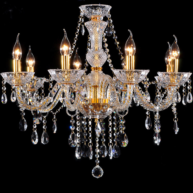 Vitrust Chandeliers 8 lights Modern gold crystal lamp K9 Clear crystal chandelier lighting Dining Living Bedroom Home Fixture