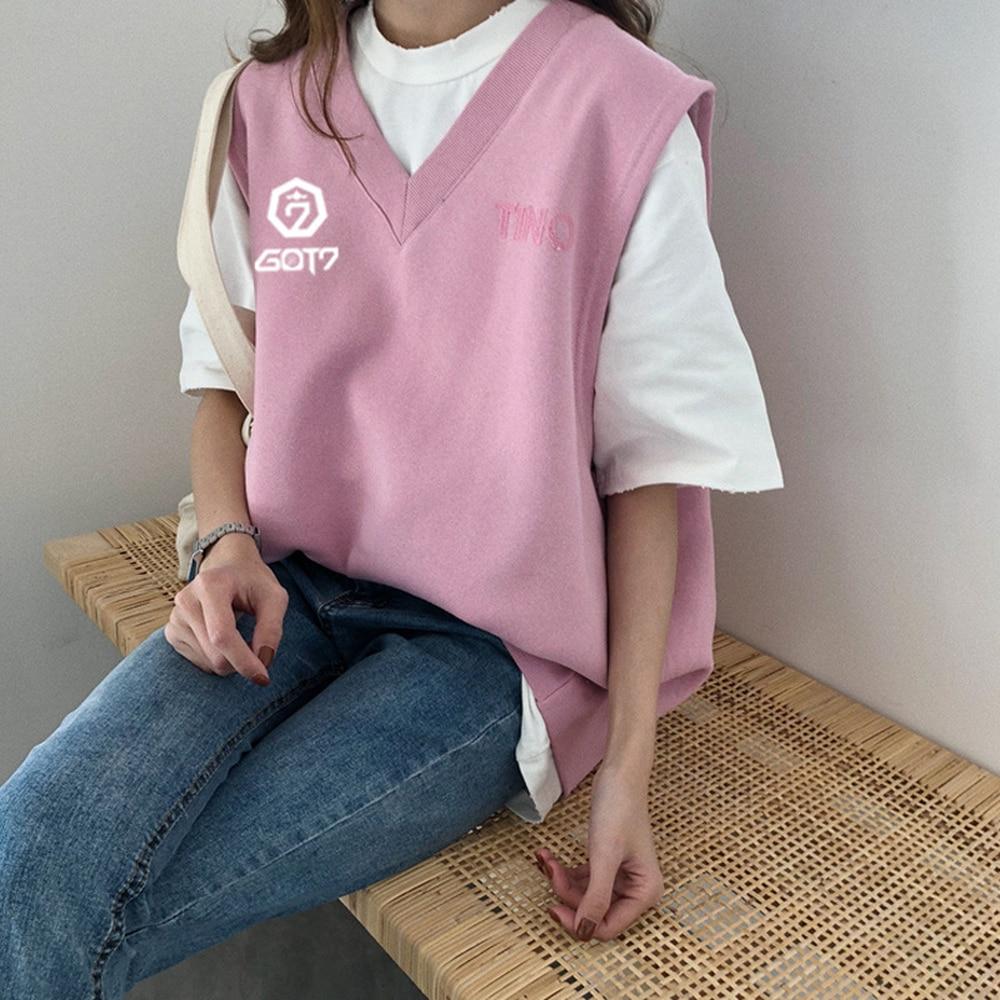 KPOP spring summer vest Sleeveless T shirt College Wind GOT7 Cotton V collar Wild Women Pink gray Letter printing 2019 student