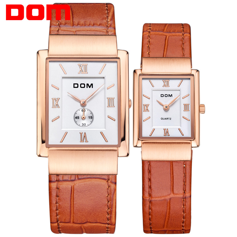 DOM leather gold lovers couple watch luxury brand waterproof style quartz   reloj 2016Square watches M-289+G-1089 потребительские товары lucky faux 2015 reloj couple watch