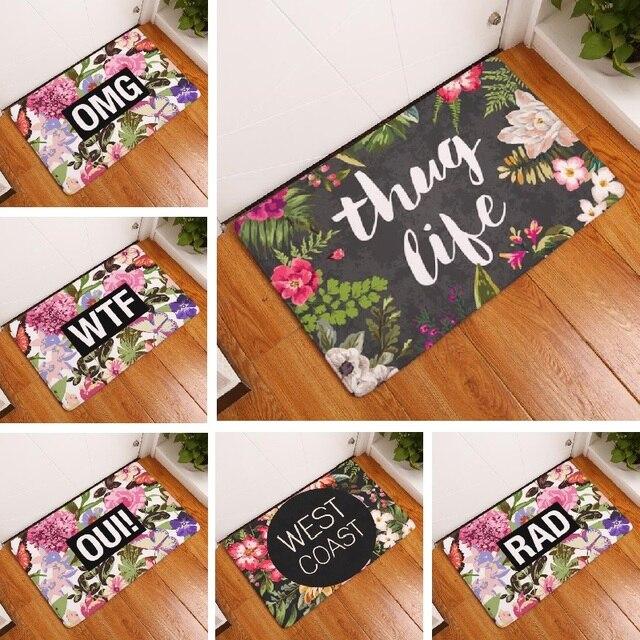 Floor Mat Vintage Flower Printed Suede Non Slip Shower Mat Bathroom Carpet Bath Mat 40x60cm OMG Toilet Rugs Home Decoration