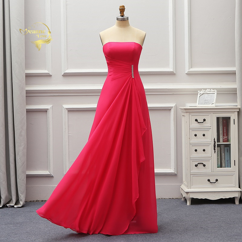 2019 Fashion Rose Chiffon   Bridesmaid     Dresses   Straplesss Formal Party Gowns Vestidos De Fiesta De Noche Abiye Gece Elbisesi BR04