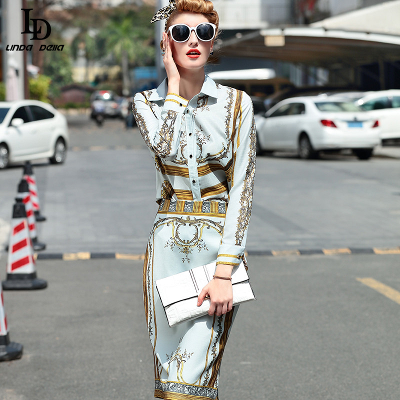 4340b60708b9a6 Designer Runway Suit Set Women's Sets Long Sleeve Shirt Tops + Print Skirt  Suit 2 Two Piece Set