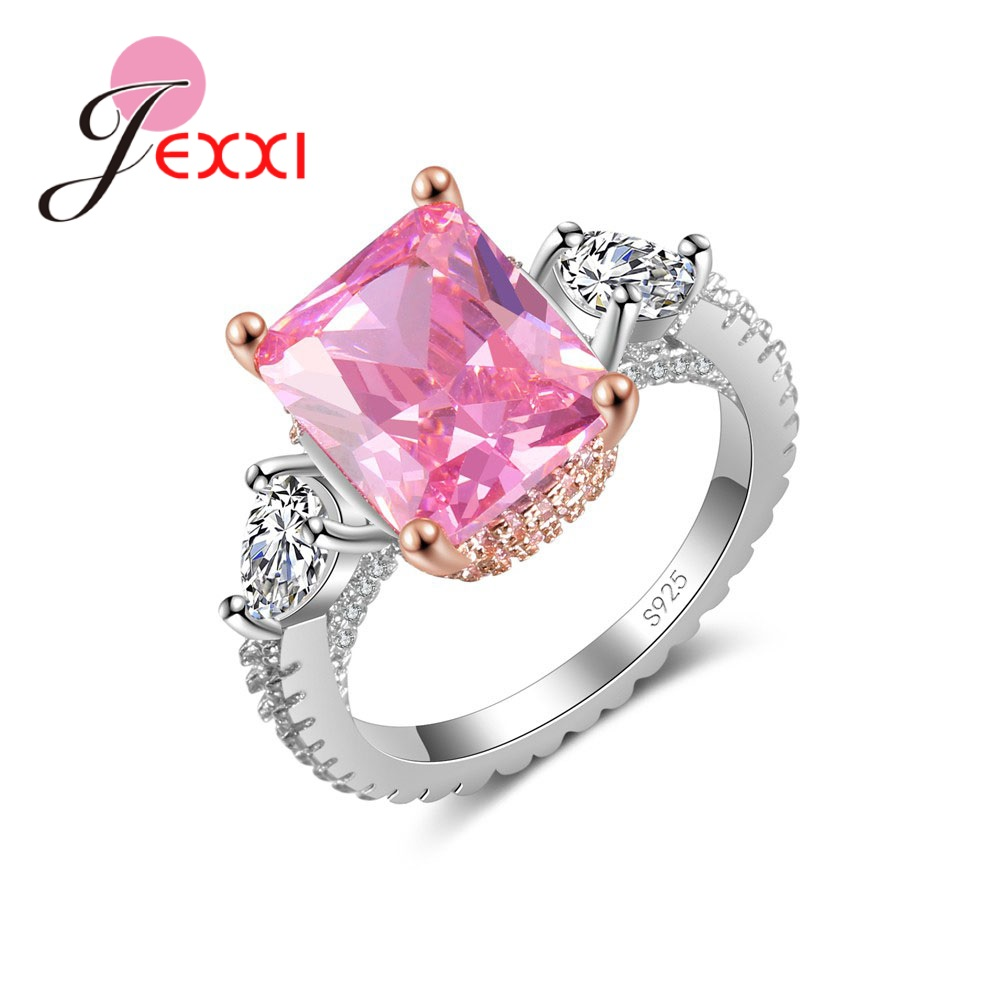 925 Sterling Silver Birthday Christmas Gift European American Fashion Square Pink Crystal Zircon Ring Jewelry
