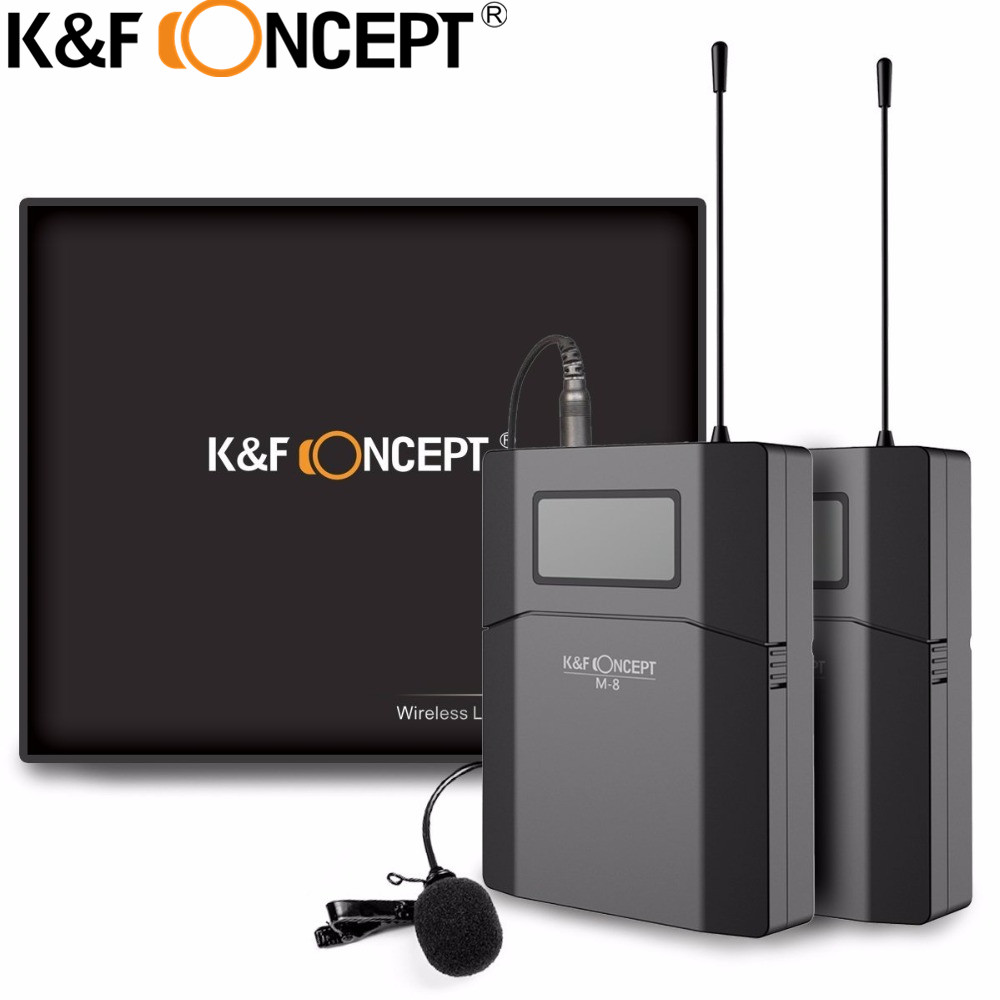 K&F CONCEPT Wireless Camera Microphone Portable Video MIC Receiver With Transmitter For Canon Nikon SONY DSLR Camera Microfone niorfnio portable 0 6w fm transmitter mp3 broadcast radio transmitter for car meeting tour guide y4409b