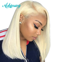 Blonde Lace Front Wig 13X4 Bob Lace Front Wigs Pre Plucked Straight Brazilian Hair 613 Lace Front Wig Natural Hairline