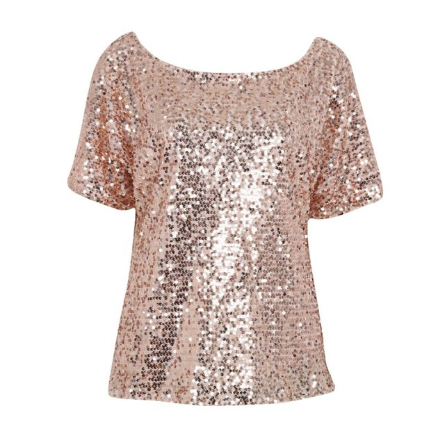 Women Lady Sequin Stitching Sequined Tops Blouse Fashion Bling 3 4