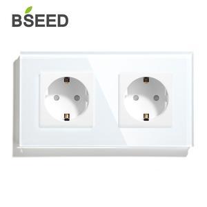 Image 1 - BSEED podwójne gniazdo Standard ue gniazdo ścienne biały czarny złoty Panel ze szkła kryształowego 157mm16A 110V 250V