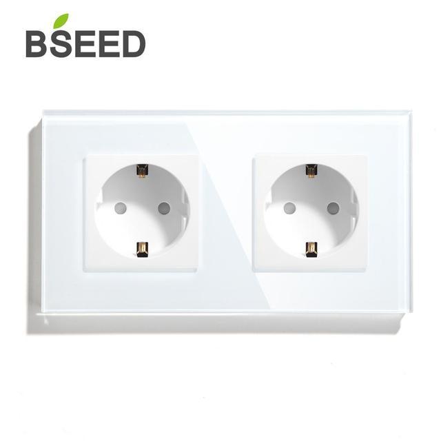 BSEED podwójne gniazdo Standard ue gniazdo ścienne biały czarny złoty Panel ze szkła kryształowego 157mm16A 110V 250V