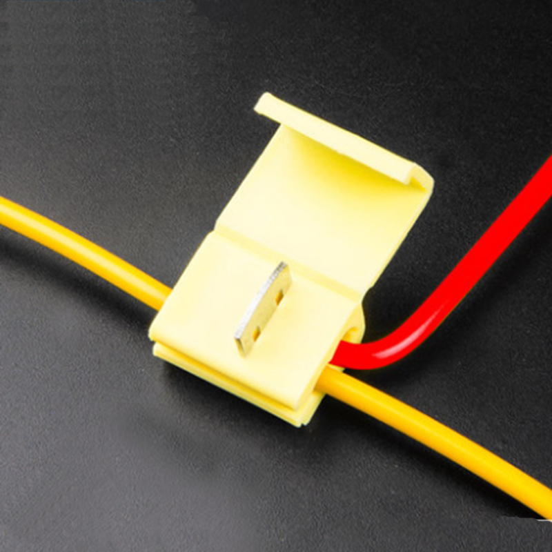 10pcs Break-free connector without damage and cable connector wire splitter yellow without trimming 2.5-4 square clamp insulation piercing connector cable clamp d clip splitter jcf150120jd