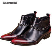 Batzuzhi High fashion Red point Toe Man wedding shoes man's boots man short boots Leather help tide boots, EU38 46, Free Ship!
