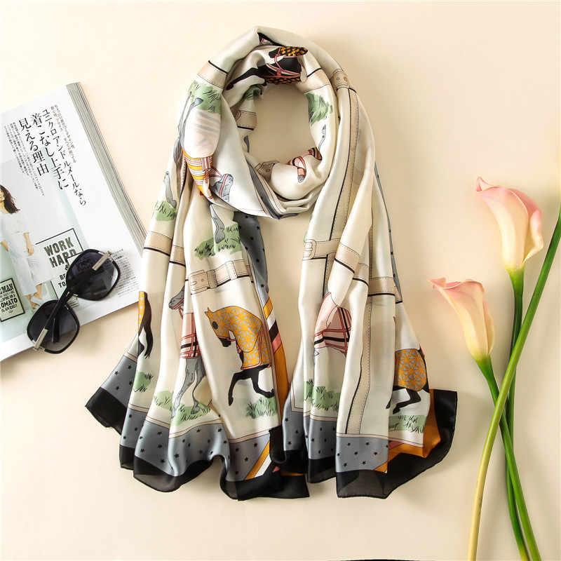 ... Лошадь шарф модные женские туфли Роскошные дизайнер печатных скаку  турецкий чистый шелковые платки шарфы 2017 ... bfc9ce671f6