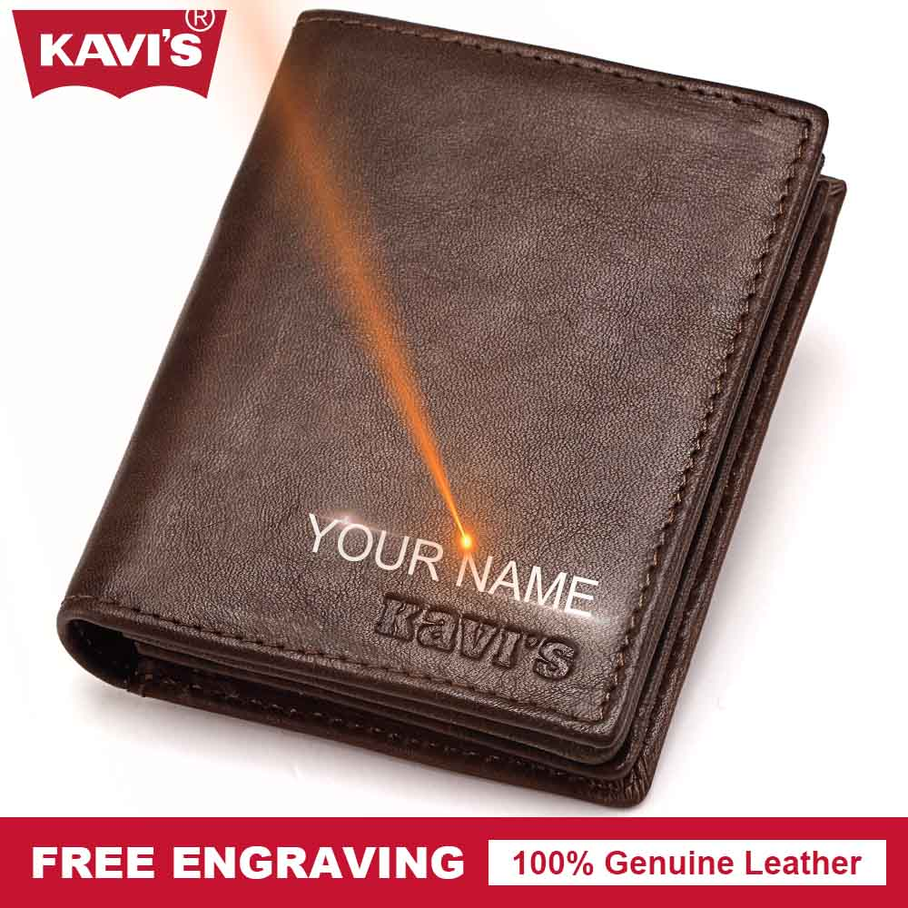 KAVIS Genuine Leather Wallet Men Coin Purse Male Purse PORTFOLIO Gift Vintage Money Bag Pocket Perse Card Holder Walet vallet joyir vintage men genuine leather wallet short small wallet male slim purse mini wallet coin purse money credit card holder 523