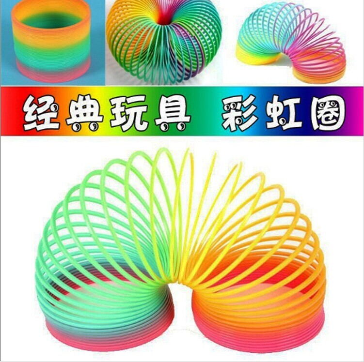 Children's Fun Toys Rainbow Circle Colorful Circle Baby Toys Stretch Elasticity  Magic Development Intellectual Toy Party Gift