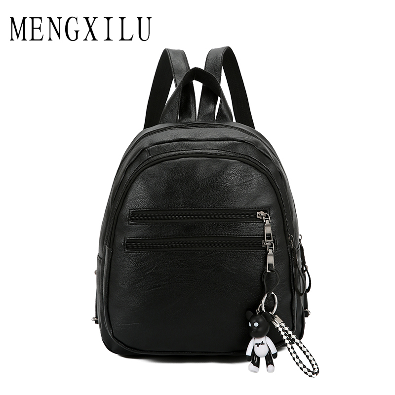 MENGXILU Brand Women Backpack Violent Bear School Bags For Teenage Girls Bagpacks Ladies Pu Leather Backpacks Sac A Dos 2018 New dida bear brand women pu leather backpacks female school bags for girls teenagers small backpack rucksack mochilas sac a dos