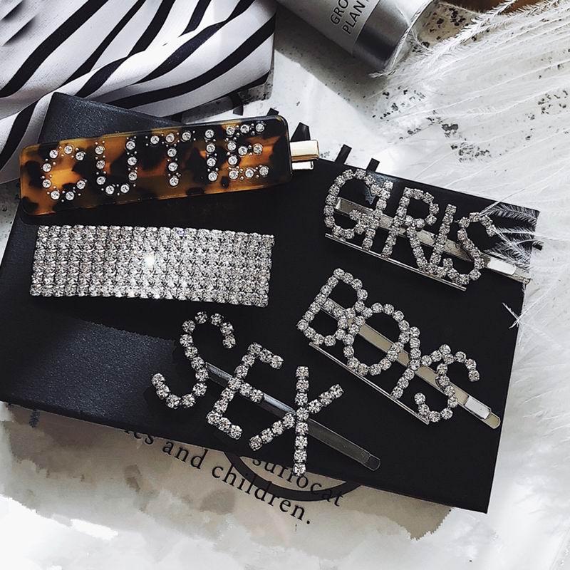 Korean Fashion Luxury Crystal Rhinestone Hair Clips Leopard Acrylic Hairpin Hair Accessories for Women Letters Hairgrip   Headwear