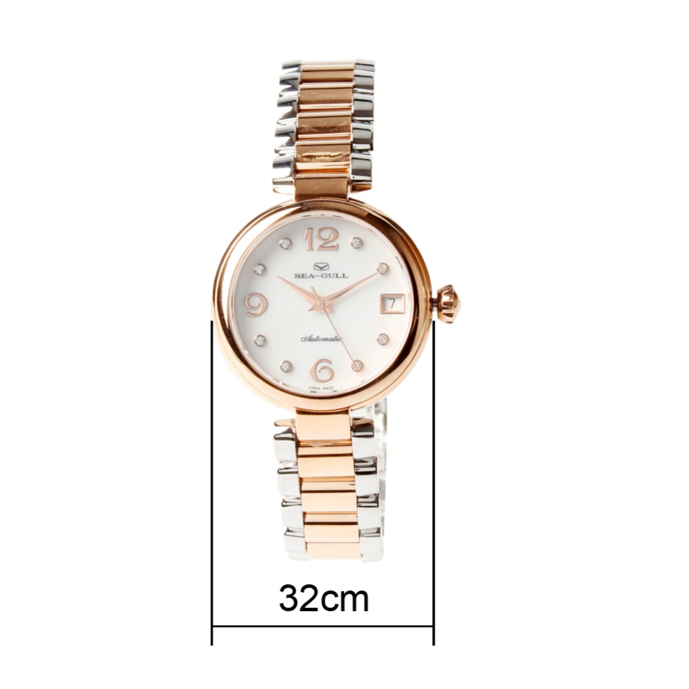 Seagull Gold Tone Rhinestones Bezel Mother of Pearl Dial สร้อยข้อมือสตรีแฟชั่นนาฬิกา 517.756L-ใน นาฬิกาข้อมือสตรี จาก นาฬิกาข้อมือ บน   3