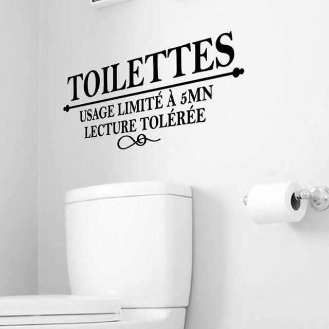 Lettres Modernes TOILETTES Stickers Muraux étanche Amovible Décalcomanie  Toilette Porte Papier Peint Pour WC Décoration De