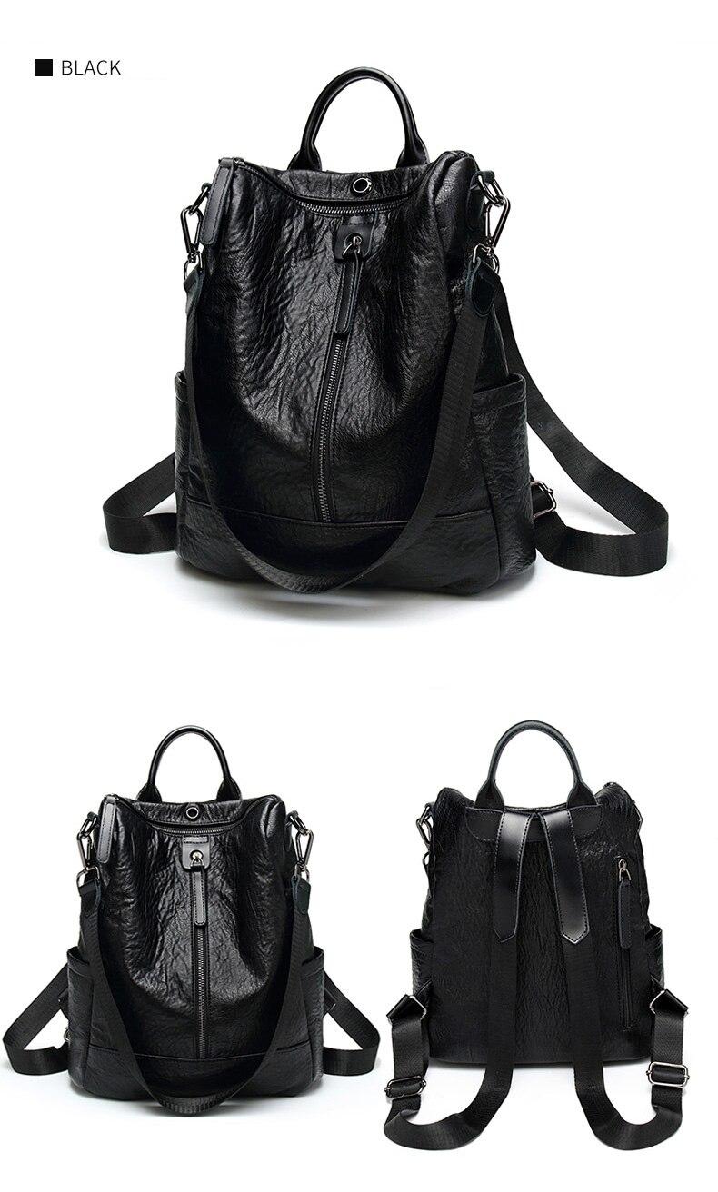 HTB180tPbEzrK1RjSspmq6AOdFXaF Female backpack mochila feminina casual Multifunction Women Leather Backpack Female Shoulder Bag Sac A Dos Travel Back Pack