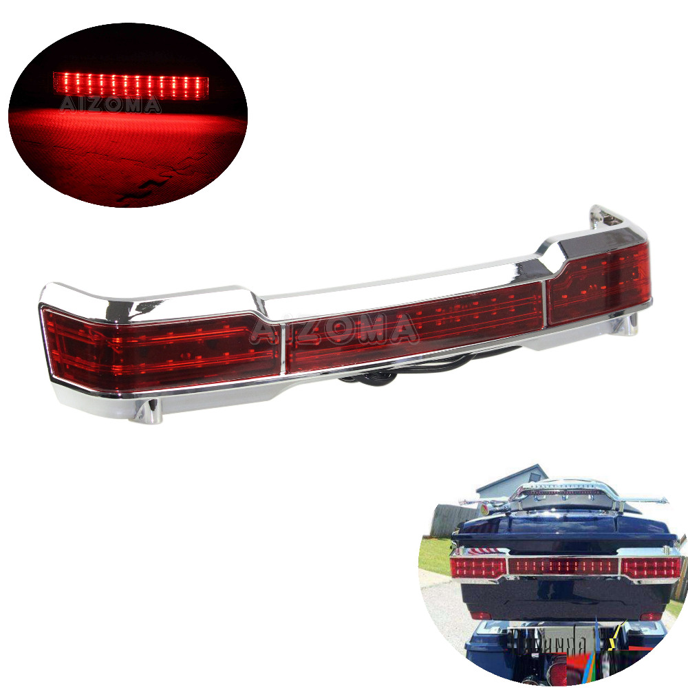 Motorcycle Chrome LED Taillight 19inch 2 3 4 Running Taillamp Brake Light For Harley Touring Classic