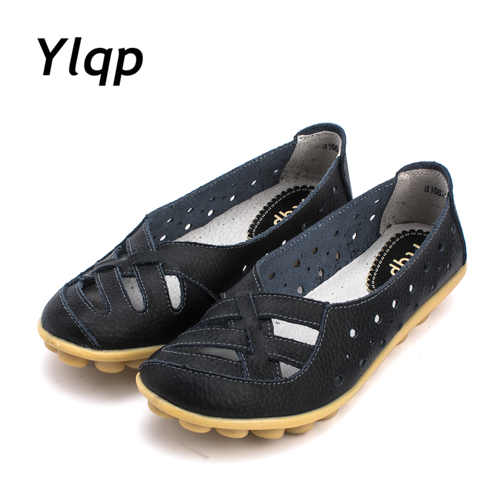 Women's Casual Shoes Genuine Leather Woman Loafers Slip-On Female Flats Moccasins Ladies Driving Shoe Cut-Outs Mother Footwear lanshulan bling glitters slippers 2017 summer flip flops platform shoes woman creepers slip on flats casual wedges gold