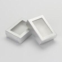 7*9 cm Conjuntos de Jóias Caixa de Exibição 60 pçs/lote Prata Colar Anel Brincos Embalagem de Papelão Caixas de Presente Com Branco esponja