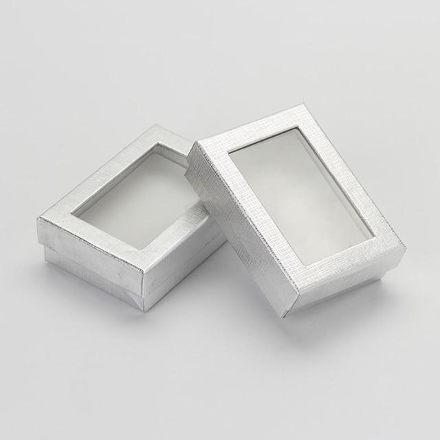 Caja expositora de joyería de 7x9 cm, 60 unids/lote, caja de regalo para pendientes de collar de cartón plateado, Cajas de Regalo de embalaje con esponja blanca