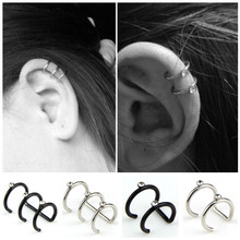 1 PC Punk Stainless Steel Earless Ear Clips Inlay Rhinestone Double C U-shaped Cartilage Cuff Wrap Earrings Fashion Jewelry