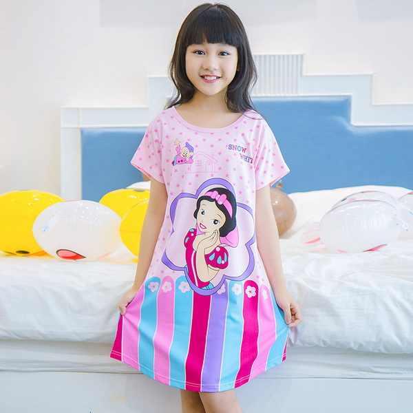 32f323b283e19 New 2018 Girls Nightdress Summer Princess Cartoon Dresses Kids Sleep Dress  Cotton Children Nightgowns Lovely Girl Gift NFDP11