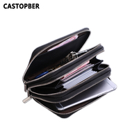Key Wallet Genuine Leather For Men Cell Phone Case Multifunctional Man Key Holder 3 Zipper Day Clutch Housekeeper Organizer Bag
