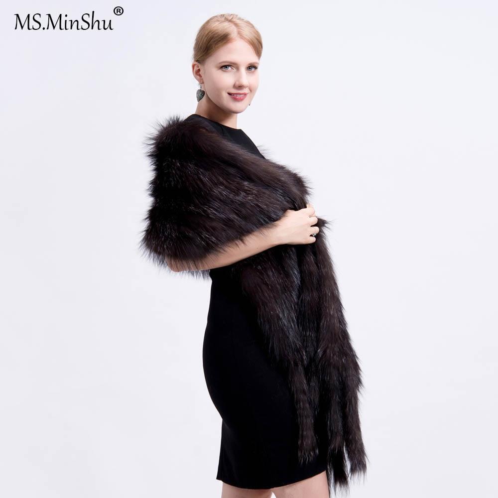 Natural Fox Fur Shawl Hand Knitted Real Fox Fur Wrap Winter Genuine Fox Fur Scarf with