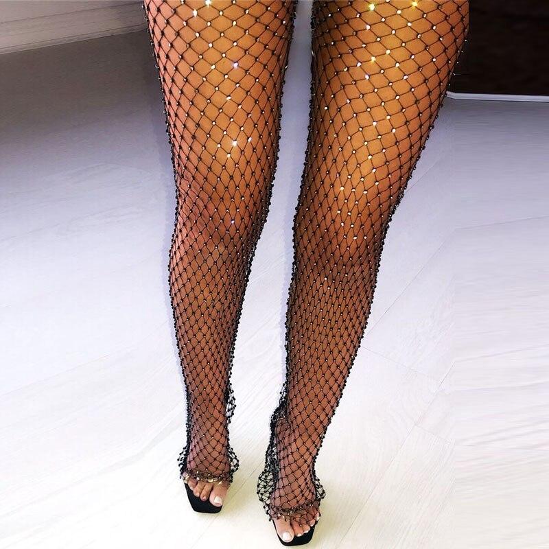 Pants Women Tunic Fishnet Party-Trousers Mesh Bottoms Crystal Rhinestones Diamonds Transparent