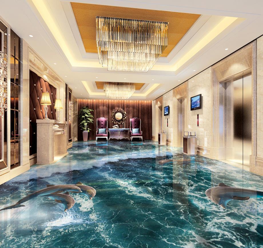US $23 52 OFF Modern Wallpaper 3D Pvc Flooring Pantai Gelombang 3D Mural Wallpaper 3D Lantai Wallpaper Ruang Latar Belakang Lantai