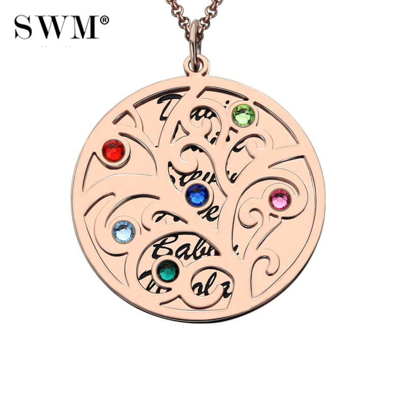 Women's Custom Stone Necklace Colar Necklaces Vintage Jewelry Rose Gold Chain Pendants Family Tree of Life for Mom Grandma цены онлайн